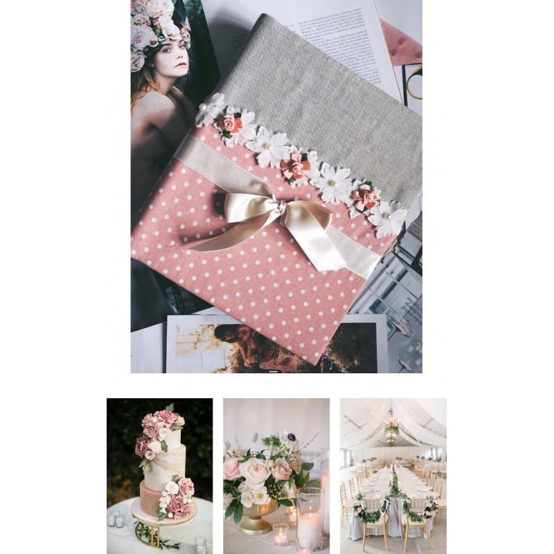 Samolepiaci svadobný fotoalbum v ružovom prevedení